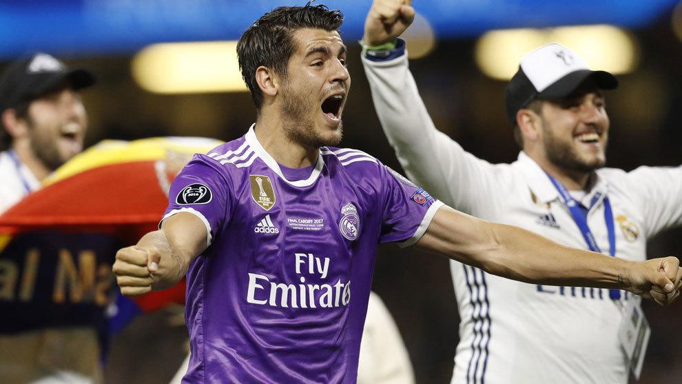 Morata celebra el título en la Champions League ante la Juventus