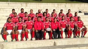 La selección de Tonga posando en Madrid el año pasado antes de jugar...