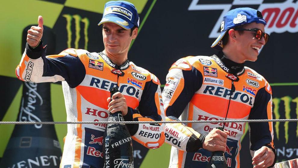 Pedrosa y Márquez, en el podio en Montmeló