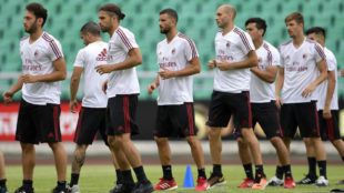 Los jugadores del Milan durante la pretemporada 'rossonera'.