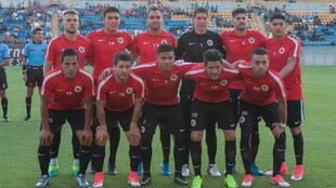 Los once titulares de San Luis en el amistoso ante Murciélagos.