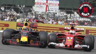 Vettel lucha con Verstappen en Silverstone.