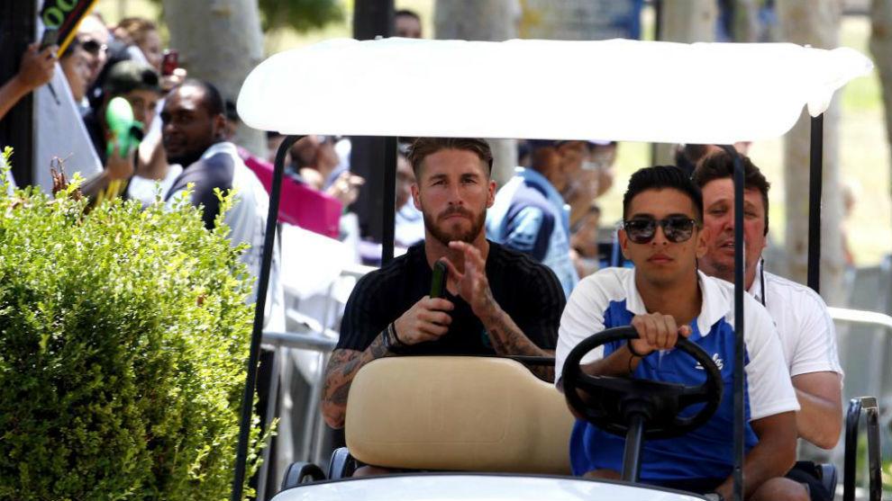 Sergio Ramos durante la concentración en UCLA