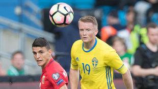 Sam Larsson con la selección de Suecia