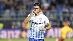 Juankar celbra un gol con el Málaga