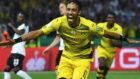 Aubameyang celebra un gol con el Dortmund.