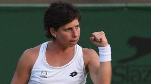 Carla Suárez tras vencer a Eugenie Bouchard en la primera ronda de...
