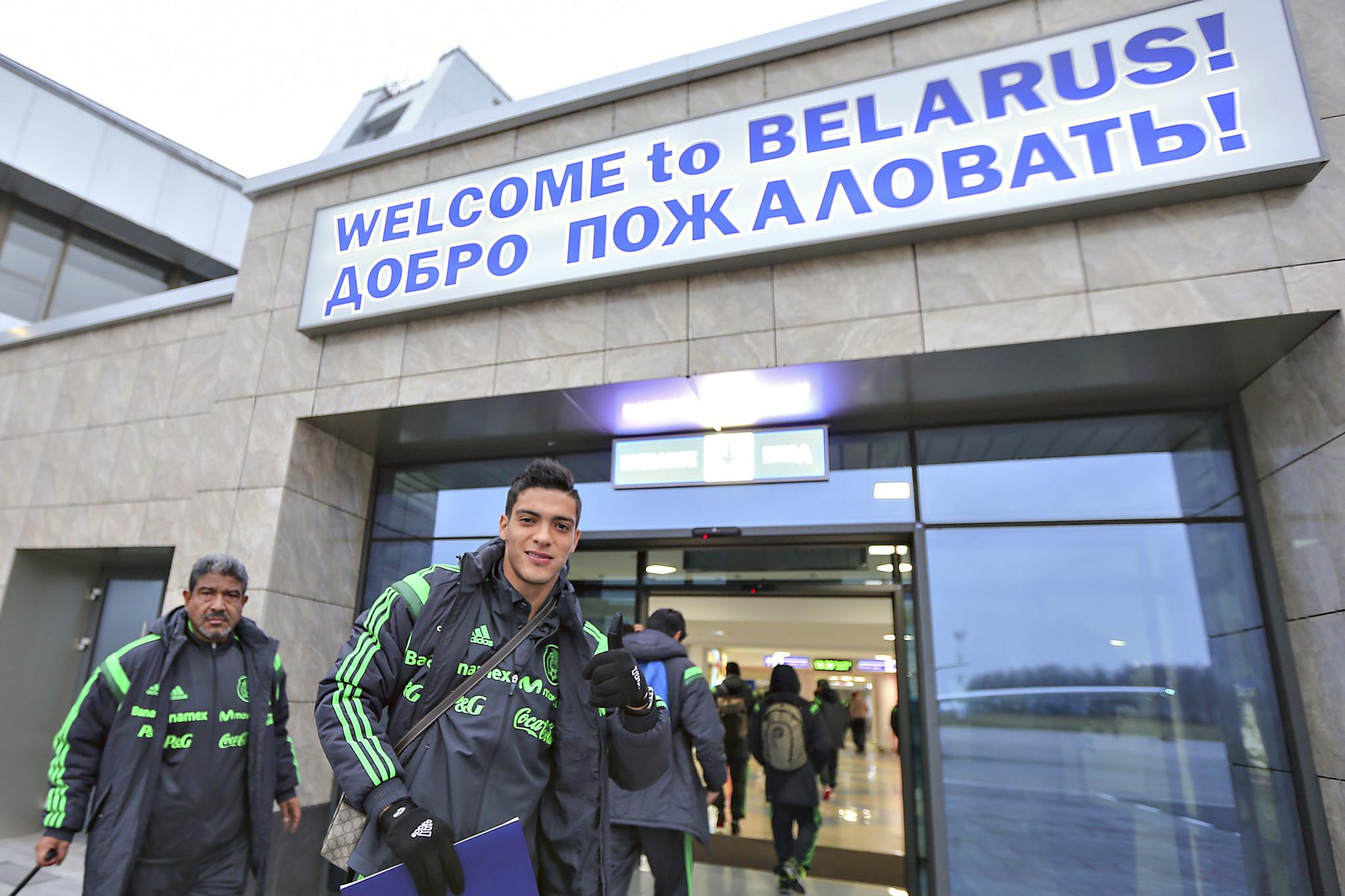 Jugadores de la selección mexicana en Bielorrusia.