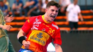 Jaime Fernández celebra un gol con los 'Hispanos Junior'...