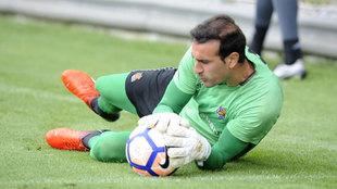 Toño Ramírez (30), en un entreno de la Real Sociedad