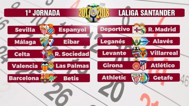 Calendario Del Barca.Calendario Liga 2017 18 Laliga Se Abrira Con Un Barca Betis Y Un