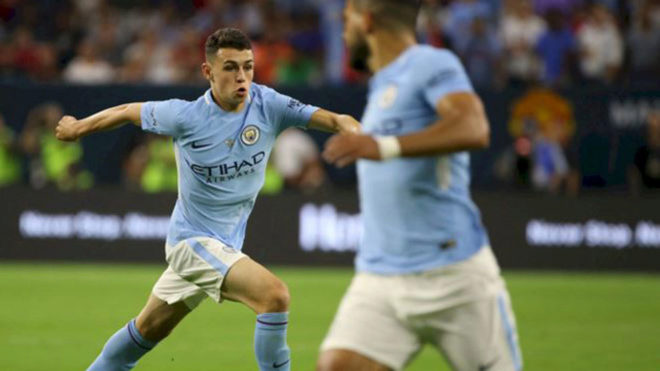 Foden, con el City ante el United.