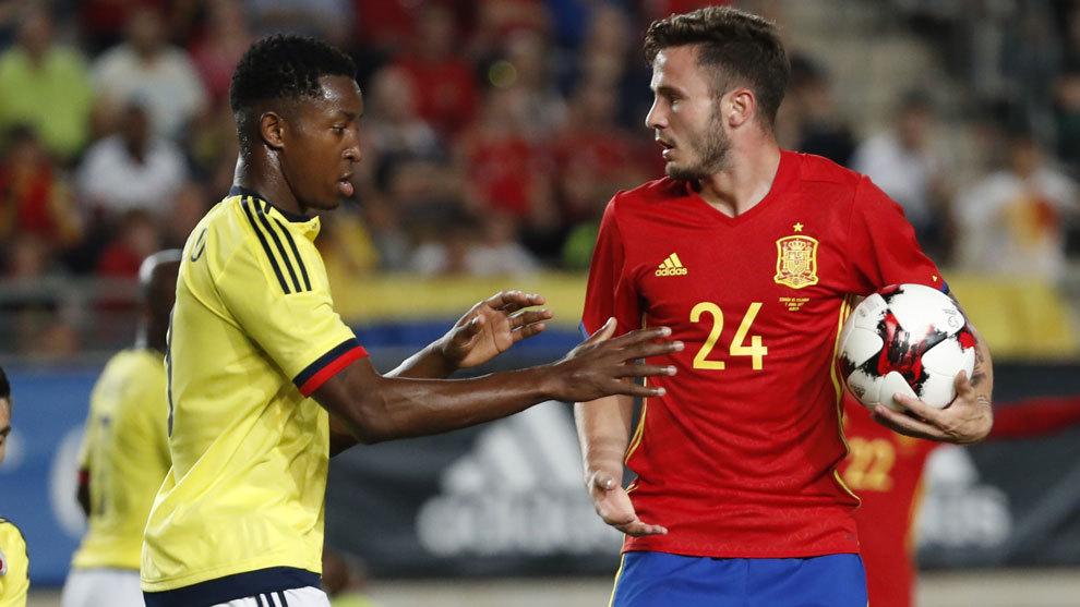 Colombia y España en el partido amistoso de junio pasado