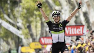 Boasson Hagen celebrando el triunfo de etapa en el Tour.
