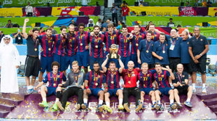El Barcelona, tras ganar la Super Globe en 2014.