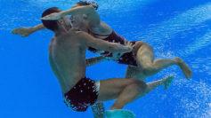 Pau Ribes y Berta Ferreras, preparando bajo el agua una acrobacia de...