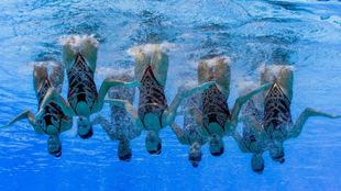 El equipo español de natación sincronizada, en los Mundiales de...
