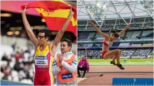 Joan Munar, con la bandera de España, y Sara Martínez, en uno de sus...