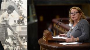 Meri Pita en su época de nadadora y en el Congreso de los Diputados.