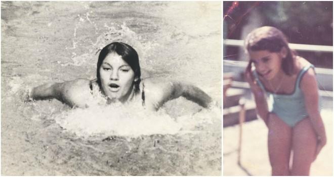 Meri Pita, nadando en la piscina de la UD Las Palmas, en la década de...