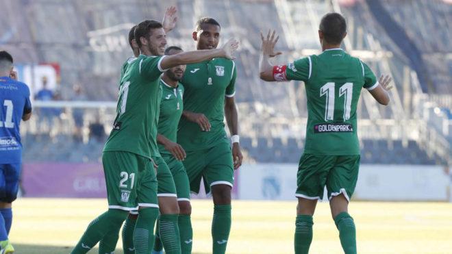Los jugadores del Leganés celebran el tanto ante el Fuenlabrada
