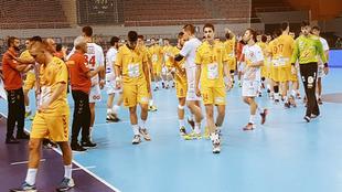 Los jugadores españoles celebran el triunfo ante Macedonia