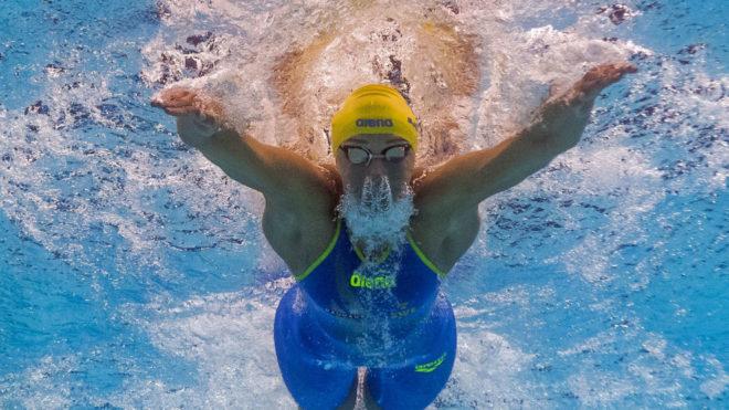Sarah Sjostrom, en una imagen subacuática durante la prueba de los...