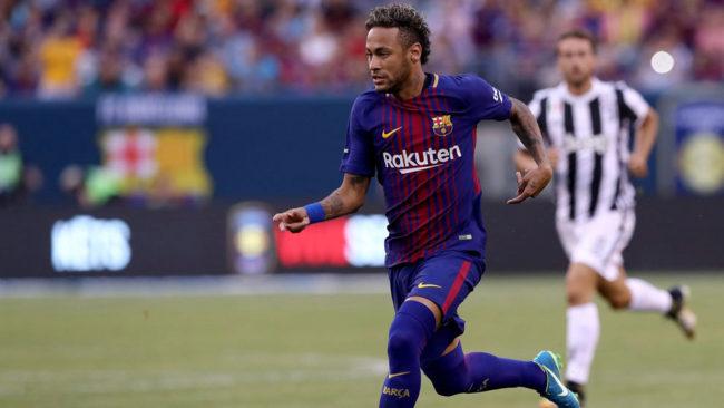 Neymar en un partido del bar�a contra la Juventus en la pretemporada