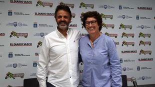 El entrenador Porfirio Fiscar y la presidenta del Gipuzkoa Basket,...