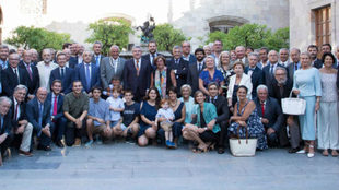Thomas Bach junto a la delegación olímpica española en el Museo...