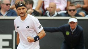David Ferrer celebra una victoria en Bastad.