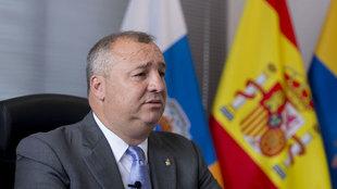 Miguel Ángel Ramírez, presidente de la UD Las Palmas, en su despacho