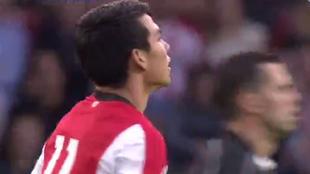 Hirving Lozano, en su debut con el PSV.
