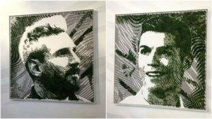 Los retratos en musgo de Messi y Cristiano Ronaldo