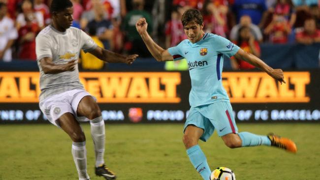 Sergi Roberto en el partido de pretemporada ante el Manchester United