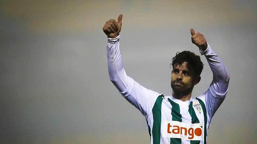 Rodri celebra un gol del Córdoba ante el Alcorcón en Santo Domingo