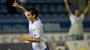 Alfaro celebra uno de los dos tantos que marcó al Córdoba en 2008,...
