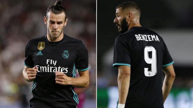 Bale (28) y Benzema (29), durante un partido del Real Madrid