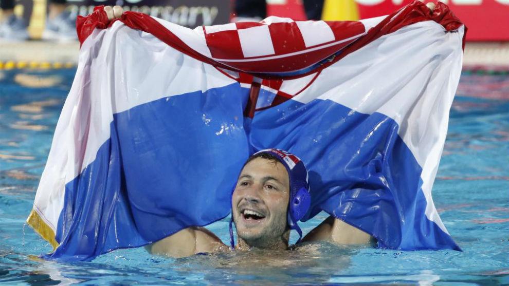 El croata Andelo Setka celebra el triunfo de su selección.