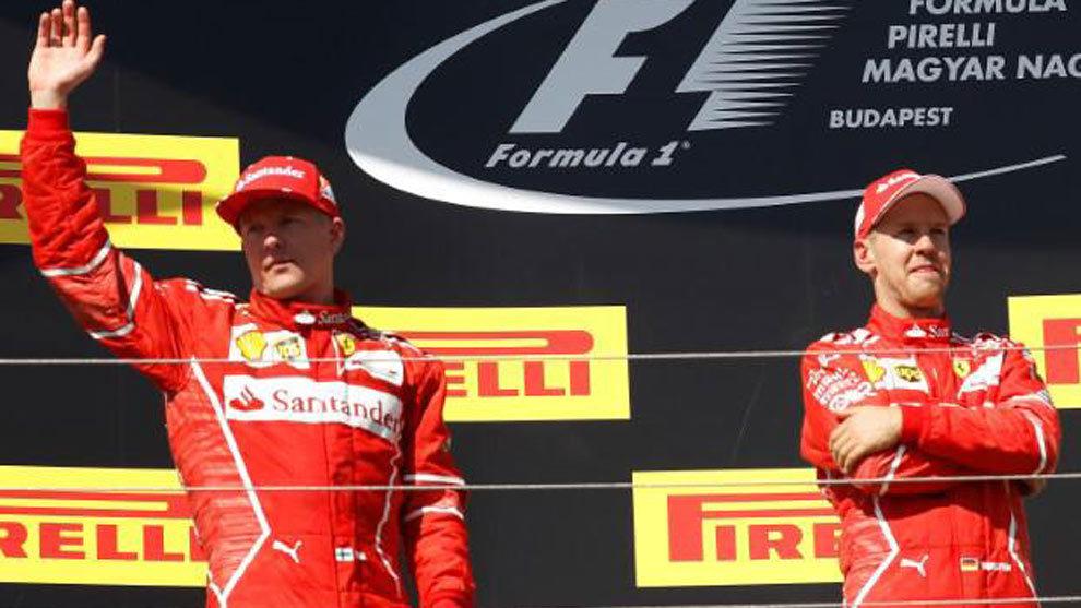Vettel y Raikkonen en el podio de Hungría