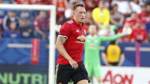 Phil Jones, en un partido con el Manchester United.