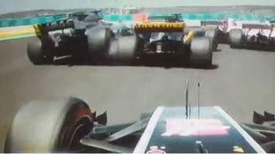 Momento del empujón de Hulkenberg a Grosjean