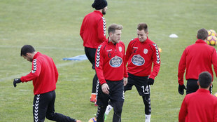 Jugadores del Lugo durante un entrenamiento.