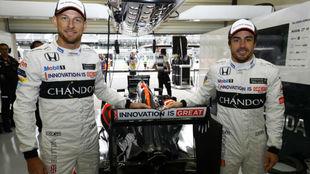 Button y Alonso, en el pasado GP de Brasil