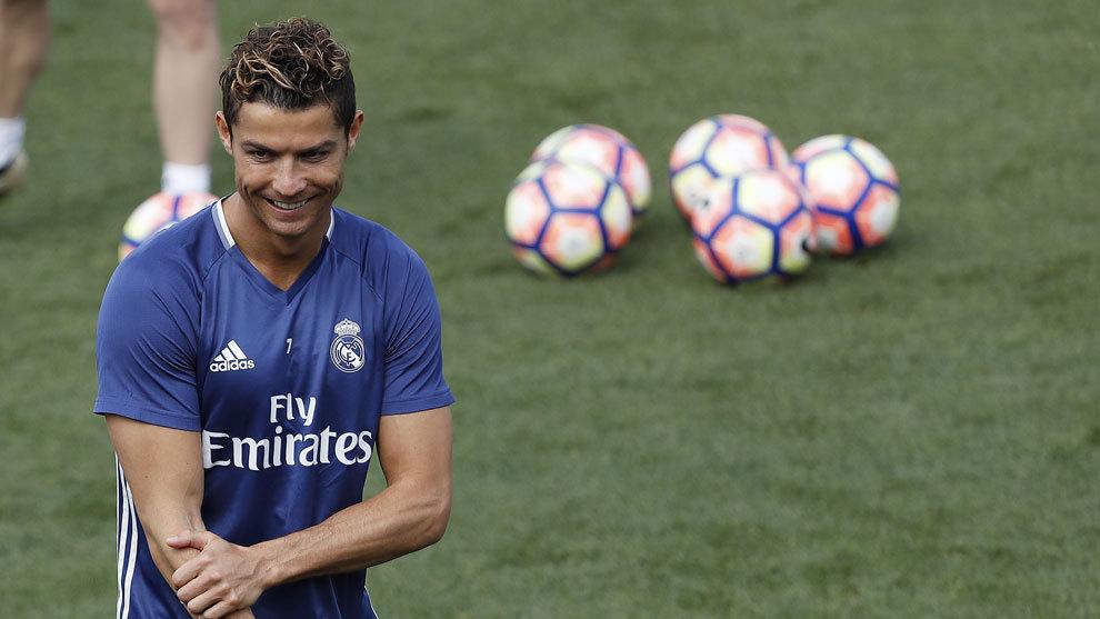 Cristiano Ronaldo en un entrenamiento en la Ciudad Deportiva de...