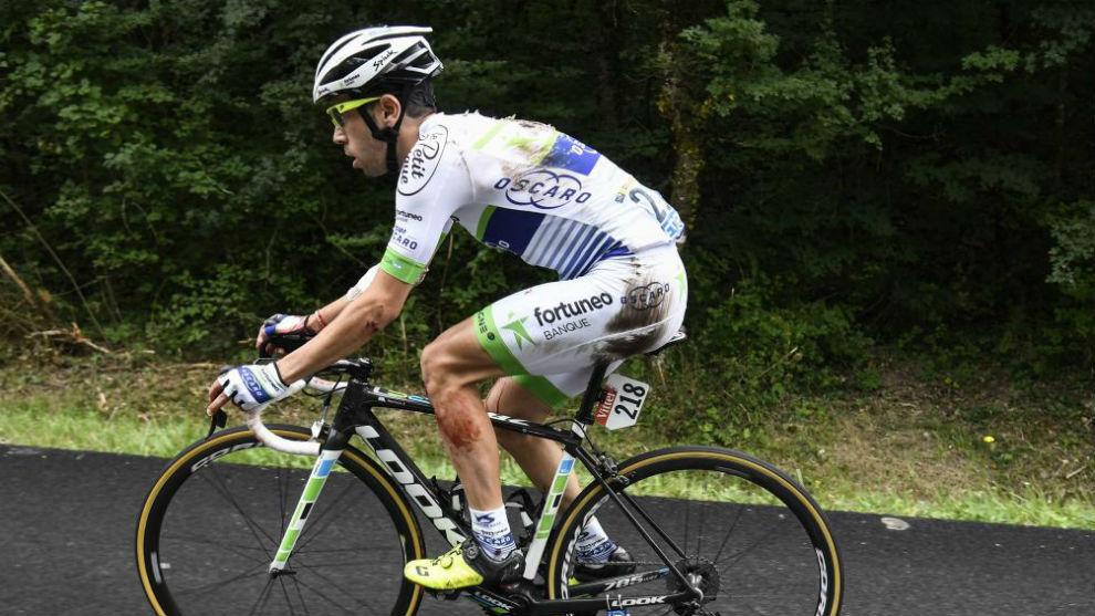 Sepúlveda, tras sufrir una caída en la novena etapa del pasado Tour...