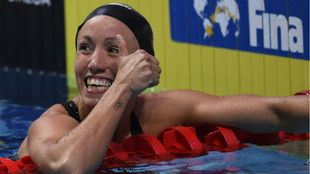 Jessica Vall tras la final de los 100m braza de los Campeonatos del...
