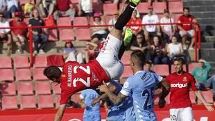 Manu Barreiro, durante el Nástic - Girona del 28 de mayo en el Nou...