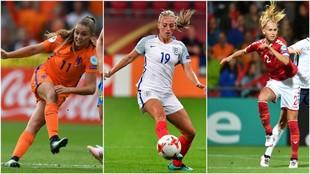 Lieke Martens, Toni Duggan y Line Roddik durante partidos esta...