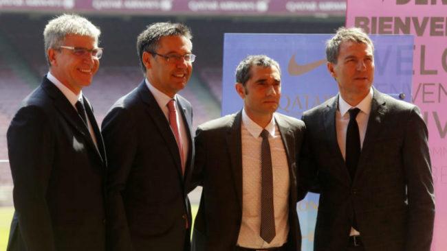 Mestre, Bartomeu, Valverde y Robert, el d�a de la presentaci�n del...